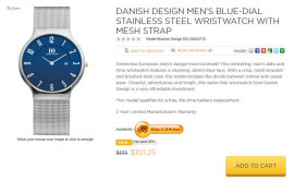 Product descriptions for designer wristwatches by Freelance Steve